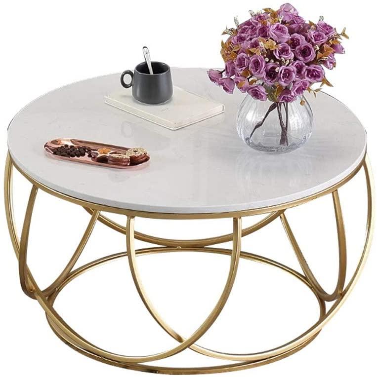 table basse en marbre blanc cadre en fer forge dore table basse ronde de salon moderne